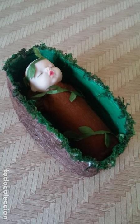 Casas de Muñecas: Preciosa muñeca o bebé, hada del bosque, en su cuna, artesanal - Foto 3 - 156614982