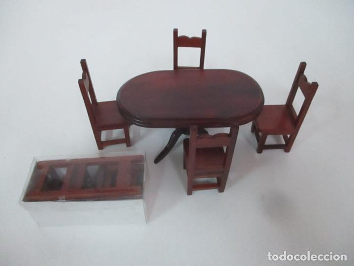 Casas de Muñecas: Mesa de Comedor y 6 Sillas Miniatura - Madera - Casa de Muñecas - Todo Tipo de Detalles - Foto 2 - 166299986