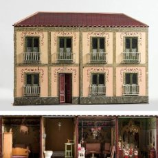 Casas de Muñecas: IMPORTANTE CASA DE MUÑECAS EN MADERA POLICROMADA, 8 ESTANCIAS. ADAPTADA A LA LUZ ELÉCTRICA. S. XIX.. Lote 169337600