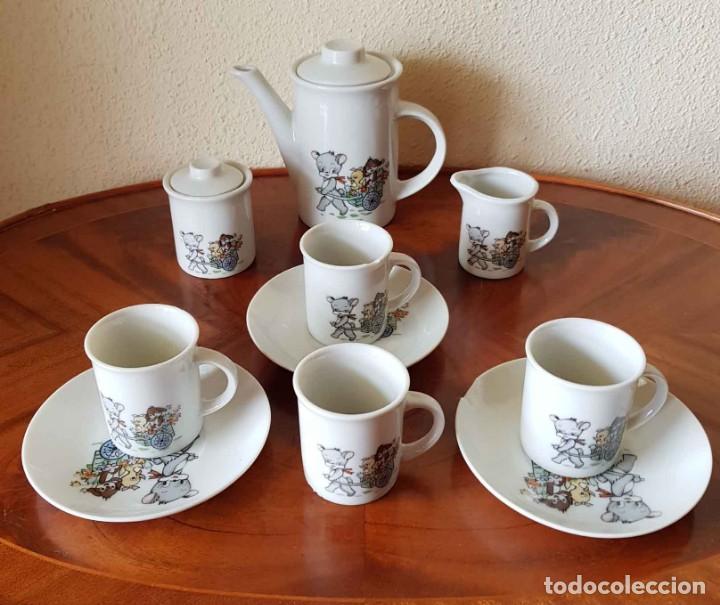 CAFETERA, AZUCARERO Y TAZAS ANTIGUOS PARA CASA DE MUÑECAS (Juguetes - Casas de Muñecas, mobiliarios y complementos)