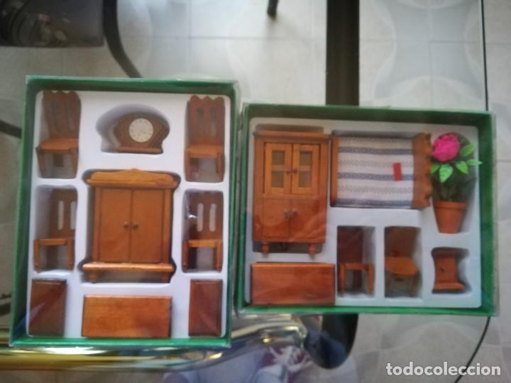 CONJUNTO DOS HABITACIONES MINIATURA PARA CASA DE MUÑECAS. NUEVAS (Juguetes - Casas de Muñecas, mobiliarios y complementos)