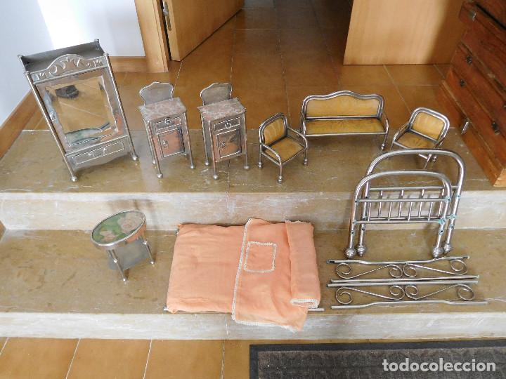 CONJUNTO PARA CASA DE MUÑECAS O SIMILAR METAL NIQUELADO AÑOS 20 (Juguetes - Casas de Muñecas, mobiliarios y complementos)
