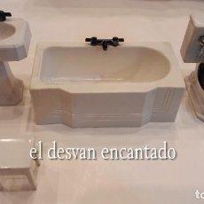 Casas de Muñecas: BAÑO COMPLETO PARA CASA DE MUÑECAS. AÑOS 1940S. LA BAÑERA MIDE 10 CTMS. Lote 288557028