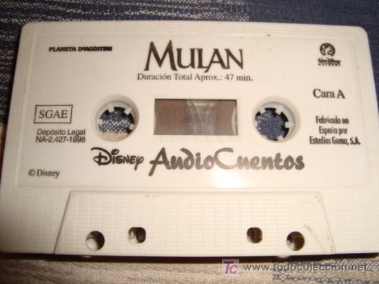 CASETE, SIN CARATULA, ORIGINAL, MULAN, DISNEY AUDIO CUENTOS, 47 MINUTOS (Música - Casetes)