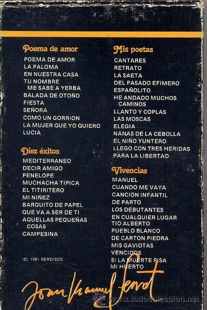 Casetes antiguos: JOAN MANUEL SERRAT - ALBUM DE ORO (4 CASSETTES1981) ver temas - Foto 2 - 47093042