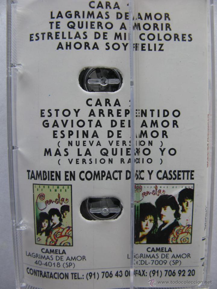 Casetes antiguos: CAMELA. LAGRIMAS DE AMOR. 8 TEMAS. 1995. DISCOS COCK. 40-2098 - Foto 2 - 50046397