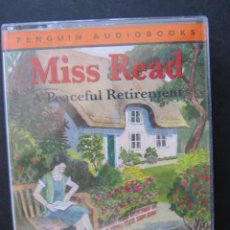 Casetes antiguos: MISS READ. A PEACEFUL RETIREMENT. READ BY JUNE WHITFIELD. PENGUIN AUDIOBOOKS. DOBLE CASETE.. Lote 52806690