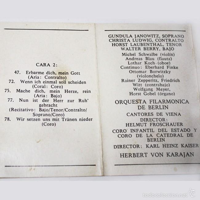 Casetes antiguos: Johann Sebastian Bach - Pasion segun San Mateo - Coros y Arias - Karajan - 1973 - Cassette Tape - Foto 3 - 58013171