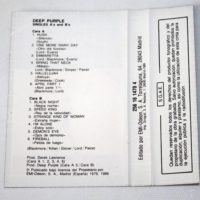 Casetes antiguos: The Deep Purple - Singles A's and B's - Fama - EMI- Cassette Tape - Foto 2 - 58014198