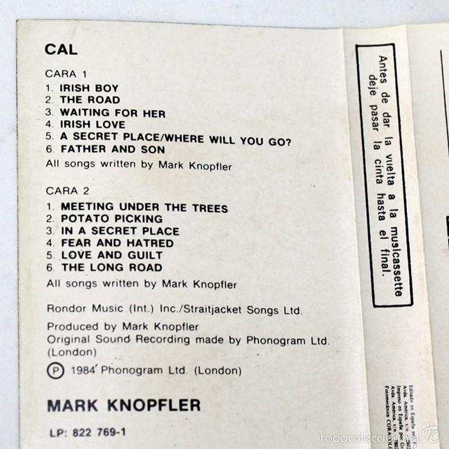Casetes antiguos: Mark Knopfler - From The Film Cal - Vertigo - 1984 - Cassette Tape - Foto 2 - 58061940