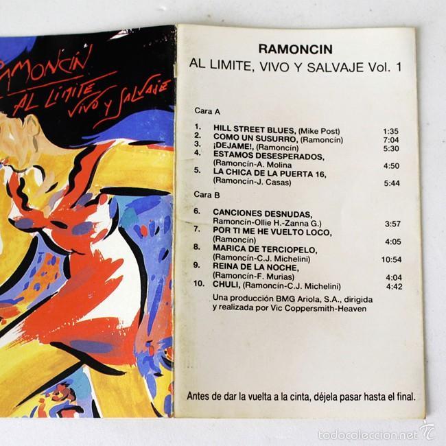 Casetes antiguos: Ramoncin - Al Límite, Vivo y Salvaje - Vol. 1 & 2 - RCA- 1990 - 2 Cassette Tape - Foto 2 - 58063948
