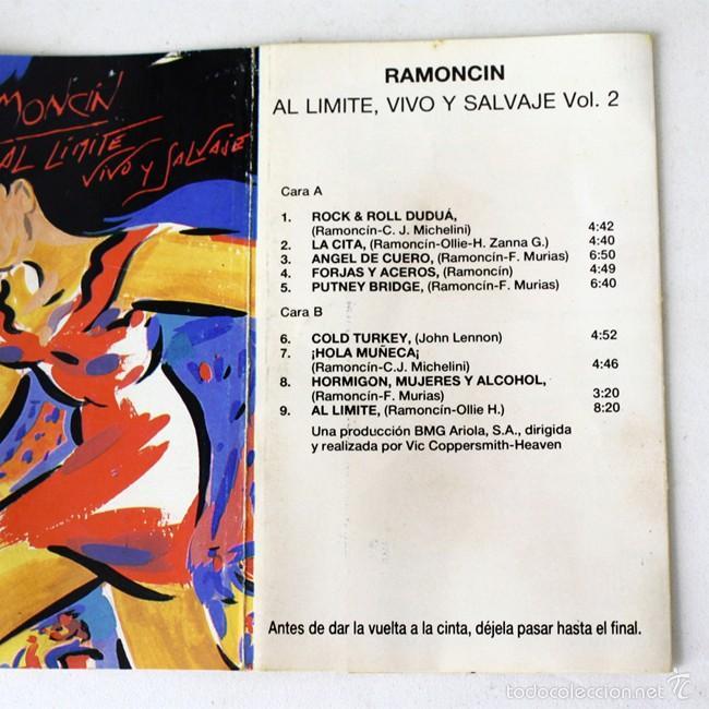 Casetes antiguos: Ramoncin - Al Límite, Vivo y Salvaje - Vol. 1 & 2 - RCA- 1990 - 2 Cassette Tape - Foto 3 - 58063948