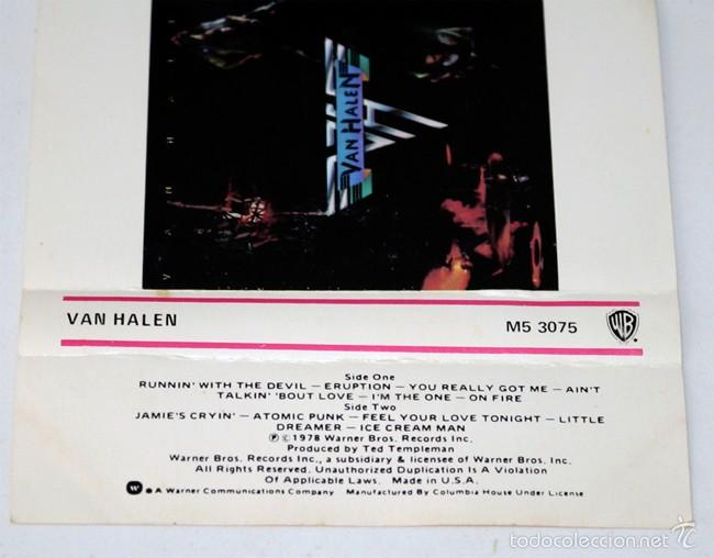 Casetes antiguos: Van Halen - Runnin With The Devil - 1978 - Made in Usa - Cassette Tape - Foto 2 - 58064799