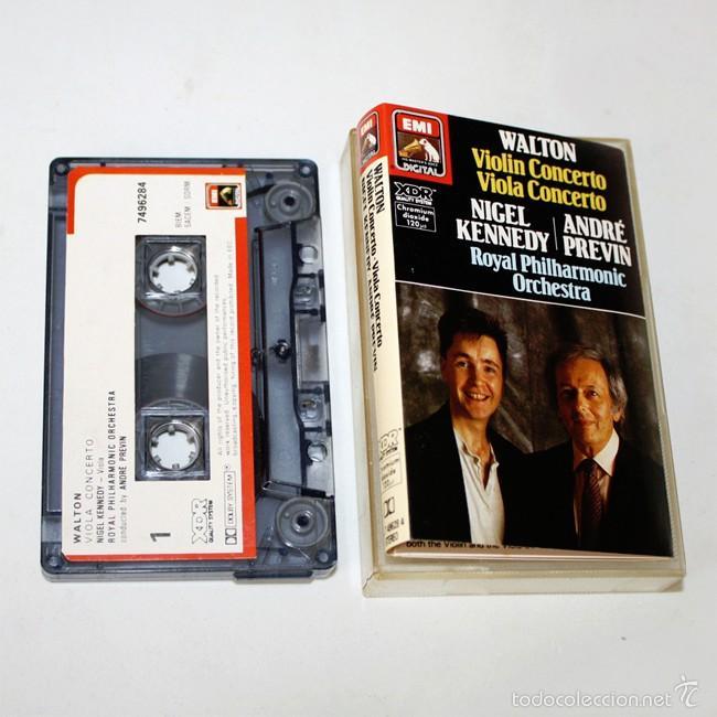 WALTON - VIOLIN CONCERTO & VIOLA CONCERTO - NIGEL KENNEDY & ANDRE PREVIN - EMI- 1987 - CASSETTE TAPE (Música - Casetes)