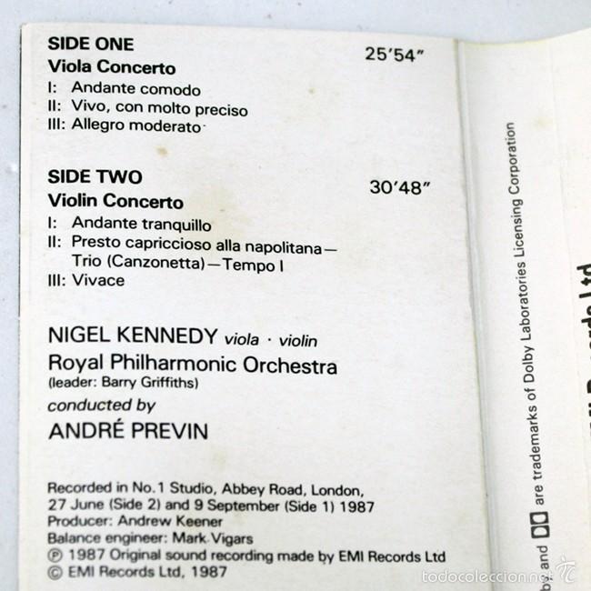 Casetes antiguos: Walton - Violin Concerto & Viola Concerto - Nigel Kennedy & Andre Previn - EMI- 1987 - Cassette Tape - Foto 2 - 58064900