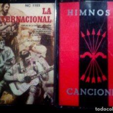 Casetes antiguos: DOS CASETES DE - HIMNOS Y CANCIONES BANDO REPUBLICANO Y NACIONAL - CARA SOL- INTERNACIONAL1977. Lote 77459885