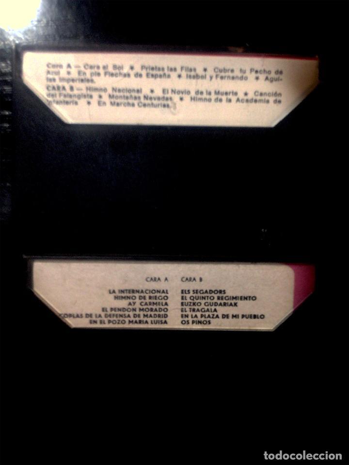 Casetes antiguos: DOS CASETES DE - HIMNOS Y CANCIONES BANDO REPUBLICANO Y NACIONAL - CARA SOL- INTERNACIONAL1977 - Foto 2 - 77459885