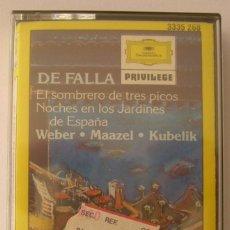 Casetes antiguos: FALLA: EL SOMBRERO DE TRES PICOS Y NOCHES JARDINES ESPAÑA. WEBER, MAAZEL Y KUBELIK. PRECINTADA. Lote 81386136