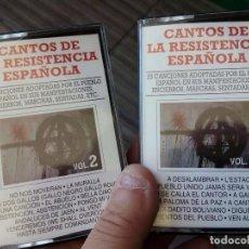 Casetes antiguos: 2 CINTAS CASSETE CANTOS DE LA RESISTENCIA ESPAÑOLA. Lote 86474312