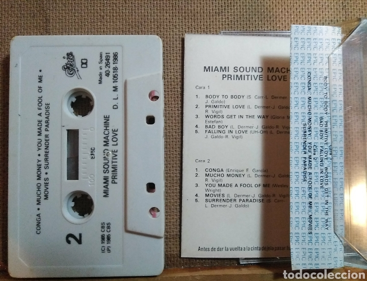Casetes antiguos: Casete Miami Sound Machine, Primitive. 1986. Tema vuelta ciclista a España. Epic, CBS. - Foto 2 - 101327392
