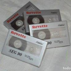 Casetes antiguos: LOTE DE 4 CINTAS DE CASSETTE - NUEVAS PRECINTADAS - ROVETTE SEG 90 - JAPAN - ENVÍO 24H - LOTE 01. Lote 132364210