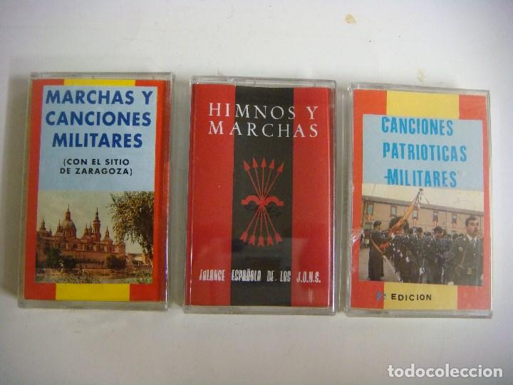 CASETES COLECCION DE 3 CASETES DE MARCHAS Y CANCIONES MILITARES HIMNOS Y MARCHAS. (Música - Casetes)