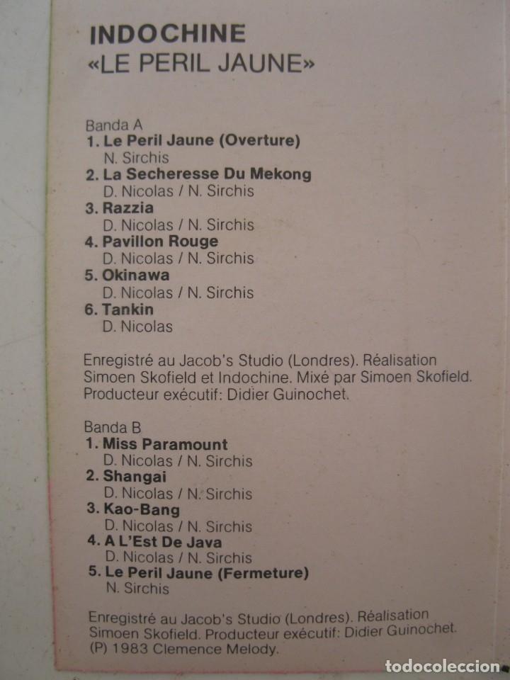 Alte Kassetten: CASETE - INDOCHINE - LE PERIL JAUNE - ARIOLA - AÑO 1983 - CINTA DE CASETTE. - Foto 2 - 152137750