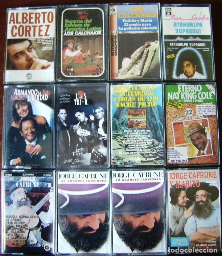 LOTE 12 CASETES - ALBERTO CORTEZ, CALCHAKIS, CAFRUNE, ATAHUALPA YUPANQUI, LOS TRI-O (Música - Casetes)