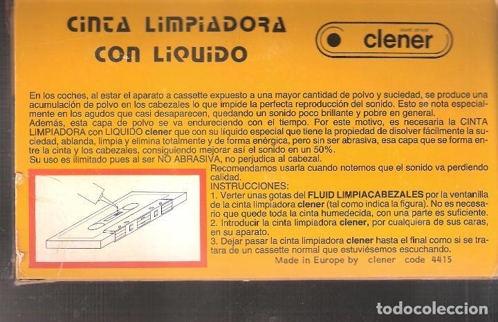 Casetes antiguos: Cinta limpiadora CLENER. Original vintage. No contiene liquido. 17x11 cm caja. - Foto 2 - 159683298