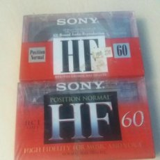 Casetes antiguos: PACK 2 CASSETTE SONY HF 60 PRECINTADO POSITION NORMAL CINTA VIRGEN. Lote 160948682