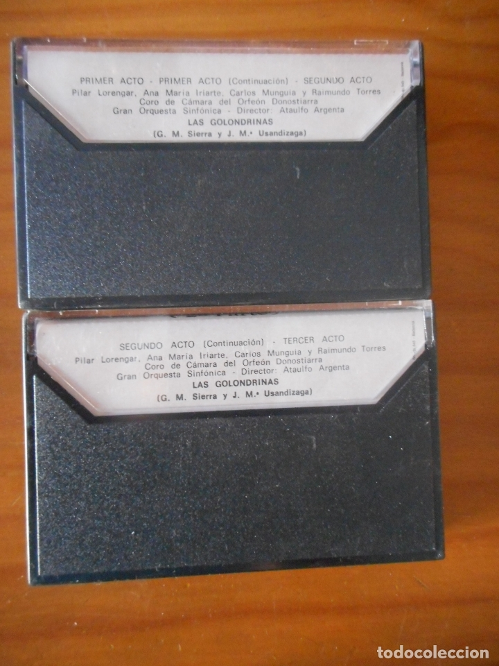 Casetes antiguos: Zarzuela. Las golondrinas. A. Argenta. 2 cassettes. Sello Zacosa. Casete -Cassette-. - Foto 2 - 167612468