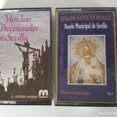 Casetes antiguos: LOTE DE 2 CASETES DE MÚSICA DE SEMANA SANTA DE SEVILLA. Lote 173026395