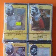 Casetes antiguos: TCHAIKOVSKY,BIZET,WAGNER 4 CASSETTES PRECINTADAS! BBM. Lote 178931557