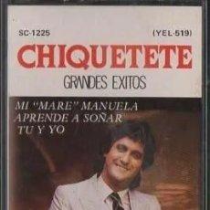 Casetes antiguos: 'CHIQUETETE GRANDES ÉXITOS'. 8 TEMAS. ZAFIRO / SERDISCO. 1986. BUEN ESTADO.. Lote 195760927