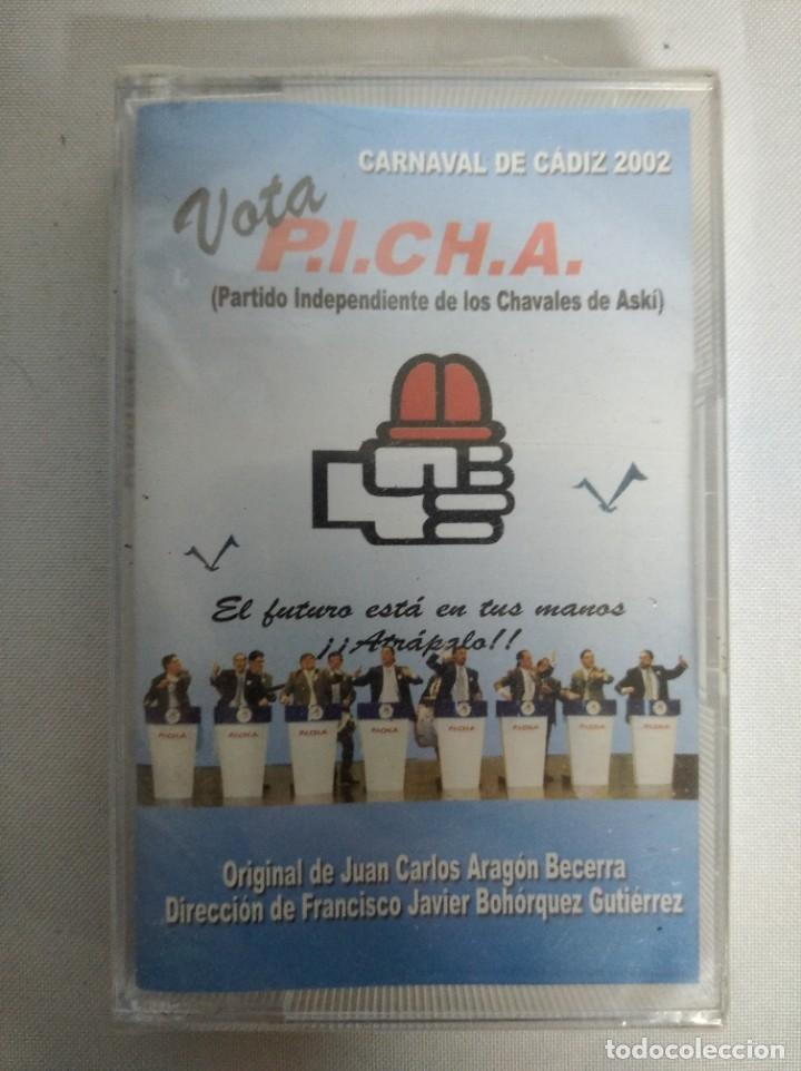 CINTA DE CASETE. CARNAVAL DE CÁDIZ 2002. VOTA P.I.C.H.A. JUAN CARLOS ARAGÓN BECERRA. NUEVA. (Música - Casetes)