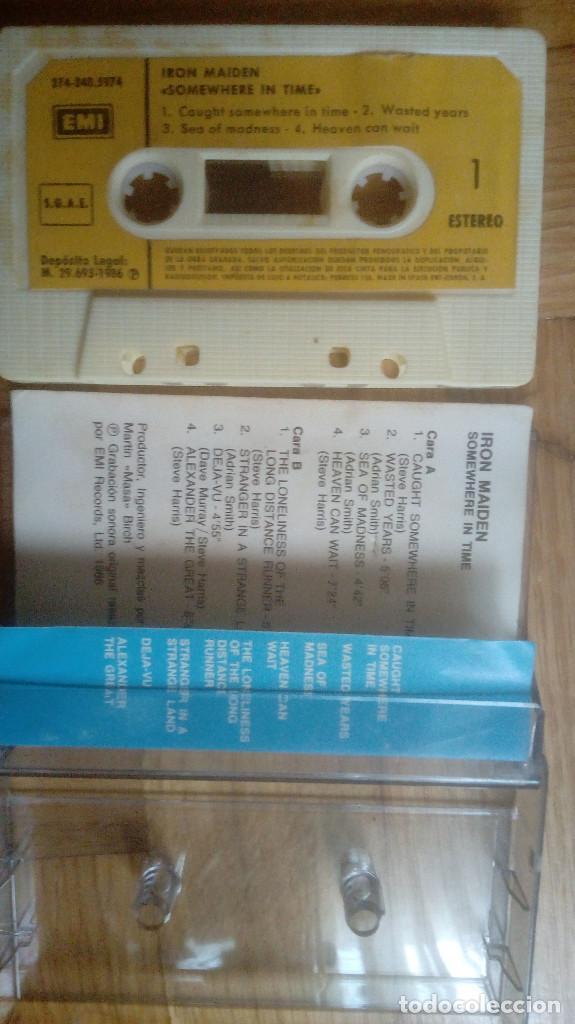 Casetes antiguos: IRON MAIDEN. SOMEWHERE IN TIME. CASSETTE. EMI (1986). SPAIN. - Foto 3 - 211694600