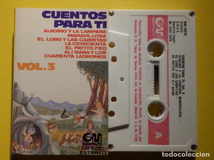 CINTA DE CASSETTE - CUENTOS PARA TI VOL. 3 - ALADINO Y LÁMPARA MARAVILLOSA, EL PATITO FEO - GM 1973 (Música - Casetes)