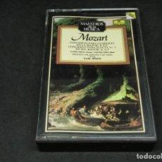 Cassettes Anciennes: CASETE - MAESTROS DE LA MÚSICA MOZART CONCIERTO PARA CLARINETE EN LA MAYOR K622 FLAUTA 1 SOL MAYOR. Lote 215624867