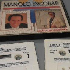 Casetes antiguos: DOS CASSETTES MANOLO ESCOBAR EDCIÓN LIMITADA RCA AÑO 1987. Lote 252171135