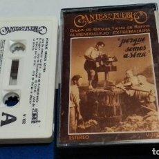 Casetes antiguos: CASETE( GRUPO DE DANZAS TIERRA DE BARROS, ALMENDRALEJO - EXTREMADURA - PORQUE SOMOS ASINA )1981. Lote 277088203