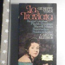 Casetes antiguos: 2 CINTA DE CASSETTE + LIBRETO - LA TRAVIATA - CARLOS KLEIBER, PLÁCIDO DOMINGO - DEUTSCHE 1977. Lote 277097188
