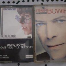 Casetes antiguos: DAVID BOWIE 2 CASETES CASSETTES LOVE YOU TIL TUESDAY BLACK TIE WHITE NOISE. Lote 282952558