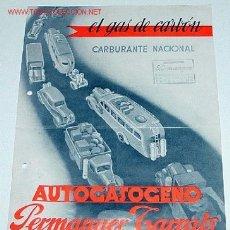 Coches y Motocicletas: ANTIGUO FOLLETO DE PUBLICIDAD DE AUTOGASOGENO - EL GAS DE CARBON VEGETAL - MIDE 30 X 21 CMS.. Lote 117704704