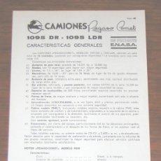 Coches y Motocicletas: PEGASO 1095 DR / 1095 LDR COMET CAMION - FOLLETO CARACTERISTICAS TECNICAS - 1971 - ESPAÑOL. Lote 3223615
