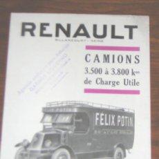 Coches y Motocicletas: RENAULT CAMIONES - CATALOGO PUBLICIDAD ORIGINAL - 1925 - FRANCES. Lote 19666269