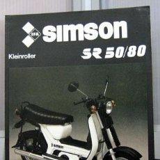 Coches y Motocicletas: SCOOTER SIMSON SR 50 / 80, CATALOGO PUBLICIDAD ORIGINAL . Lote 26718380