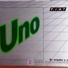 Coches y Motocicletas: FIAT UNO - 1989 - TODA LA GAMA - ORIGINAL MANUAL INSTRUCCIONES USUARIO, TEXTO EN ESPAÑOL. . Lote 19667926
