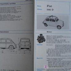 Coches y Motocicletas: FICHA TECNICA,FIAT 500 D. Lote 7800453
