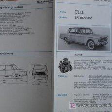 Coches y Motocicletas: FICHA TECNICA,FIAT 1800-2100. Lote 7800454