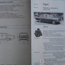 Coches y Motocicletas: FICHA TECNICA, OPEL KAPITAN,ADMIRAL A. Lote 7800455